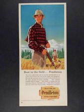 1958 Pendleton Wool Shirts hunter shotgun fashion art vintage print Ad