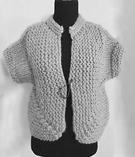 Lutz & Patmos Women's Grey Wool Handknit Short Sleeve Sweater Bolero Style Sz M