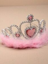 Silver Plastic Tiara With Pink Heart And Pink Feather Trim Birthday Accessories