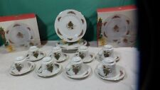 Holiday 24 pieces  Japan Christmas Dishes Dinner Plates Cups , Saucer .