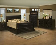 Modern Eastern King Size Bed 4pc Set Classic Black Cherry Wood Bedroom Furniture