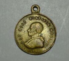 Pope Leo XIII 1880 Bronze Medal Penadant Pontifex Maximus Immaculate Conception