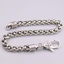 """S925 Sterling Silver Women Men Special Wheat Foxtail Chain Bracelet 7""""L 4mmW 17g"""