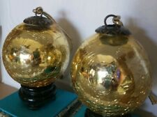 Vintage Mercury  Heavy  Crackle Glass  Kugel Gold  Christmas Ornament 3""