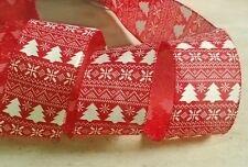 Navidad Rojo Y Verde Arco de la cinta con Cable copo de nieve ancho 63mm Decoraciones Pastel