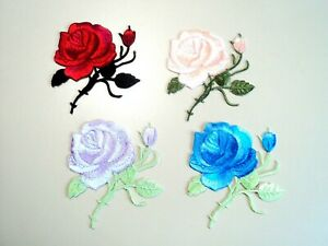 1x Rose Bud Flower Patches Embroidered Cloth Badge Applique Iron Sew On