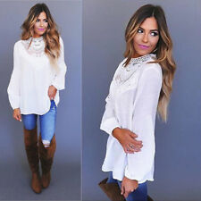 UK Womens Lace Long Sleeve Shirt Blouse Ladies High Neck Casual Loose Tops 8-22