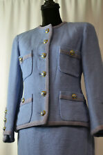 CHANEL Sz 42 Skirt Suit Light Blue Braided Trim Interlocking CC Buttons Chain FR