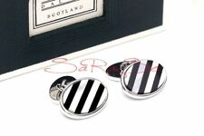 Dalvey Cuff Links Stainless Steel Pearl, Onyx New