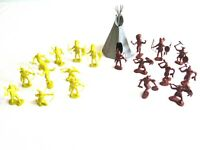 Marx Fort Apache Teepee 10 Yellow and 9 Brown Indians maybe Recast / Reissue Lot