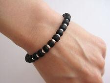 Bracelet perles noires Miyuki et argent 925/1000e BR12