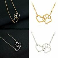 Maya's Grace Paw Print Necklace Dog Cat Animal Lover Fur Baby Heart Lariat Gift