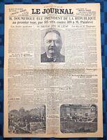 La Une Du Journal Le Journal 14 Juin 1924 Élection De Gaston Doumergue