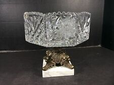 ORNATE VINTAGE HAND CUT CRYSTAL, BRONZE AND MARBLE WEST GERMANY CENTER PIECE