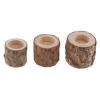 3x Tree Stump Wooden Candle Holder Tea Light for Candlelight Dinner Decor