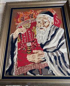 Vintage Judaica Needlepoint Rabbi Tefillin Straps Talmud Jewish Art