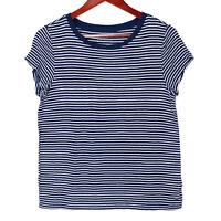 American Eagle Women's Blue Soft & Sexy Striped T-Shirt Top - Size Medium