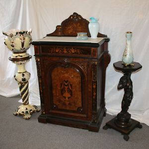 Antique Renaissance Revival walnut Victorian Cabinet Credenza