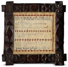 RARE WATERCOLOR MARRIAGE REGISTRY FOR JOHN J. BERDAN (1790-1862)AND ELIZA GO...