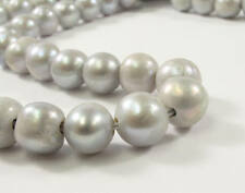10 to 11 mm AA Large Hole Potato SILVER GRAY Freshwater Pearls 2 mm Hole (#42)