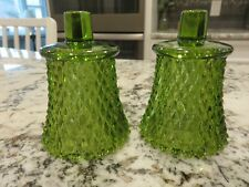 """Vtg Homco Home Interiors 3 3/4"""" Green Glass Candle Wall Sconce Globes Set 2 Euc"""