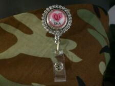 CNA bling snap button Retractable Badge Reel w/CHAIN Pull ID Holder clip