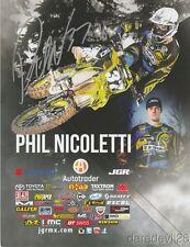 2017 Phil Nicoletti signed Joe Gibbs Racing Suzuki Supercross Motocross postcard