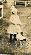1910 Sepia Photo Little Girl & Doll in Doll Stroller Mi Cut from Old Postcard