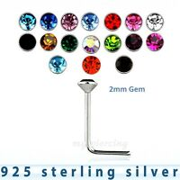 2pcs.of color  22g ~2mm Round Flat C.Z .925 Sterling Silver L-Shaped Nose Stud