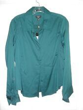 Talbots blouse size 12P Petite LS NWT button dark green