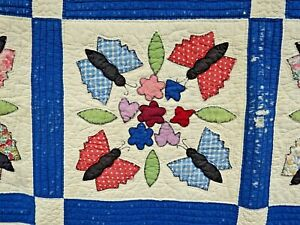 Antique Vtg Quilt Patchwork Novelty Butterfly Applique Feedsack 30s 40s Blanket
