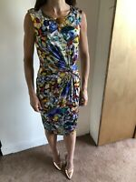 Phase Eight Slinky Stretch Ruched Wiggle Bodycon Dress Jewel Print Size 8