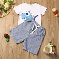 2PCS Toddler Kid Baby Boy Cartoons T-shirt Tops+Shorts Pants Outfits Clothes Set