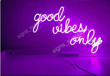 "New Good Vibes Only Neon Light Sign Acrylic 14"" Decor Poster Glass Bar Fast Ship"