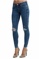 True Religion Women's Halle Double Destroyed Skinny Stretch Jeans w/ Rips