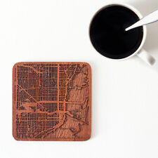 Miami map coaster One piece  wooden coaster Multiple city IDEAL GIFTS