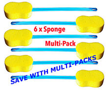 Long Handle Bath Sponge,  Flexible, for Back, Leg and Arm - Pack of 6