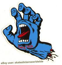 Santa Cruz Screaming Hand Skateboard Sticker Blue - Jim Phillips Design 15cm New