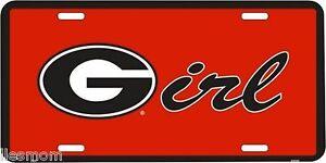 NCAA University of Georgia Bulldogs Logo G Girl Red Metal Car License Plate Sign
