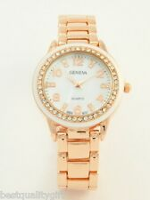 NEW GENEVA DESIGNER'S ROSE GOLD+WHITE ACRYLIC,CRYSTALS,AND MOP DIAL WATCH