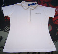 Ford Ladies White Grey Embroidered Short Sleeve Polo Shirt Size 8 New