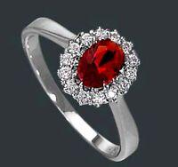 925 ECHT SILBER RHODINIERT *** Ring Zirkonia  rot,  Größenauswahl