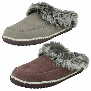 LADIES CLARKS SLIPPERS HOME 2 SOFT SUEDE FUR LINED MULES