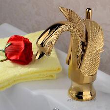 Gold Polished Brass Stylish Swan Design Bathroom Basin Faucet Sink Mixer Tap