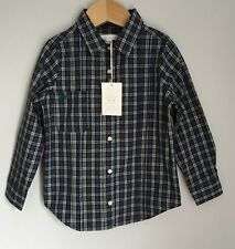 Marie Chantal Designer Girls Fitted Blue Brown Check Shirt BNWT Size 4-5 Years