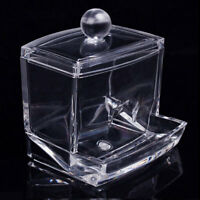 Clear Acrylic ABS Cotton Swab Organizer Stick Box Cosmetic Holder Makeup Storage