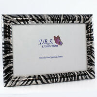 Bejeweled zebra pattern photo frame, enamel painted w/ crystals in silver 4x6