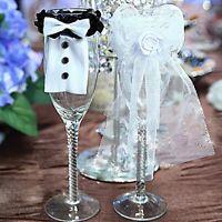 2 PCS Practical Bride&Groom Tux Bridal Wedding Party Toasting Wine Glasses Decor