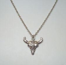 "Horned Skull Animal Head Pendant 21"" Chain Necklace - Totem Amulet"