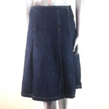 Marilyn Anselm Hobbs Blue Denim Skirt Knife Pleated Metal Zipper 8
